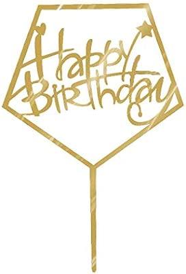 Torta del Feliz cumpleaños Topper acrílico Oro centelleo del Brillo de Bricolaje Torta de la Magdalena Partido de la Vela Hecha a Mano palillo de ...