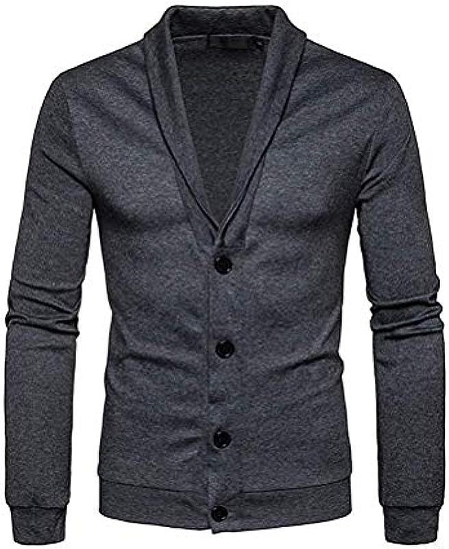 Męska kurtka jesienna kurtka z dzianiny Cardigan drobno dziergana z dekoltem V i sukienką Fiesta listwa z guzikami męska moda: Odzież