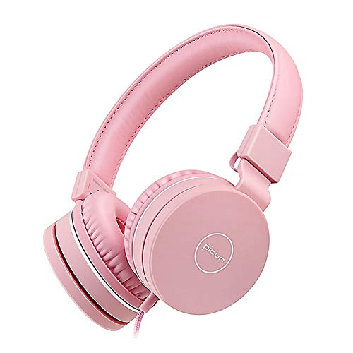 Kids Headphones, 85dB Volume Limiting Hearing Protection - with Microphone - Wired Children Foldable On Ear Headphones for Boys Girls Teens School (Pink)