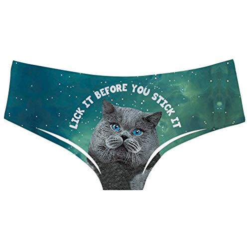 TUONROAD Girls Personalized Popular Funny Novelty Animal Printed Panties Briefs Grey Brown Cat Turquoise Galaxy Space Pretty Comfortable Elastic Tight Low Cut Underwears Lingerie Riding up Size M