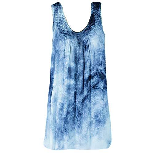 (Kaniem Women's Plus Size Blouses Sexy Scoop Neck Tie Dyed Print Sleeveless Tops Loose T Shirts (XXXL, Blue))