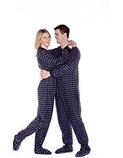 BIG FEET PAJAMA CO. Black & White Plaid Cotton Flannel Onesie Adult Footed Pajamas w/Drop-seat