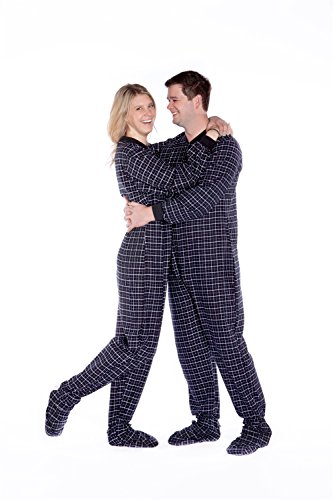 Black & White Plaid Cotton Flannel Adult Footed Onesie Pajamas