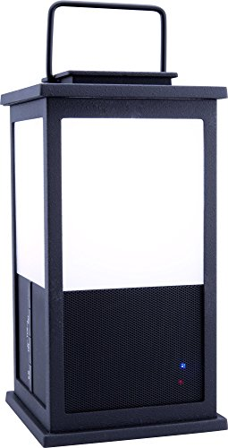 iLive Wireless Wrought Iron Lantern Speaker, Built-In 18 LED Light, 4.8 x 4.8 x 9.92 Inches, Black (iSBW326B)
