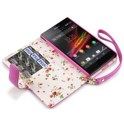 new concept de93d ee7fd SONY XPERIA Z PREMIUM PU LEATHER WALLET CASE WITH FLORAL INTERIOR (PINK)