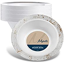 MAJESTIC PARTY PLATES / WEDDING PLATES| 6 Ounce Plastic Bowls for Desserts Etc.| White with Silver Rim, 40 Pack | Elegant & Fancy Heavy Duty Party Supplies Plates for all Occasions