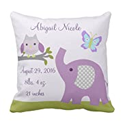 Emvency Throw Pillow Cover Purple Personalized Nursery Dreamland Owl Elephant Cute Butterflies Decorative Pillow Case Home Decor Square 18 x 18 Inch Pillowcase