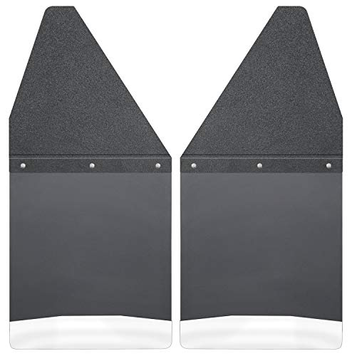 Husky Liners Kick Back Mud Flaps 12IN - Black Top/SS Wt Fits Silv/F150/Ram