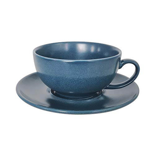 (J-FAMILY Professional Porcelain Cappuccino Cup and Saucer set for Specialty Coffee Drink Like Cappuccino and Latte,Semi Matte Pearl Blue Latte Cup,8 oz)