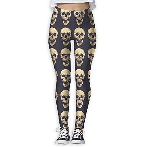 DYOW Women's Realistic Skull Trippy Smiling Print Sports Gym Yoga Leggings Pants ()