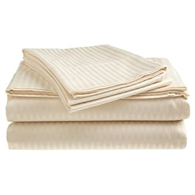 Twin Size Ivory 400 Thread Count 100% Cotton Sateen Dobby Stripe Sheet Set
