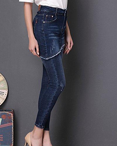 Bleu Skinny Slim Jeans Brods Denim Elastiques Pantalons Kasen Femmes 5Hqw88