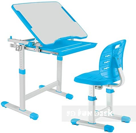 FD FUN DESK Piccolino III Blue Children's Adjustable Height Student Desk with Chair, 664x474x540-760 mm