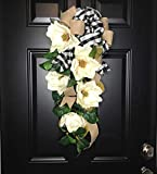 Large Southern Magnolia Teardrop Floral Swag Wreath w/Buffalo Plaid/Check Bow for Front Door Porch Indoor Wall Farmhouse Decor Spring Springtime Summer Summertime Year Round, Handmade, 30''L x 18'' W