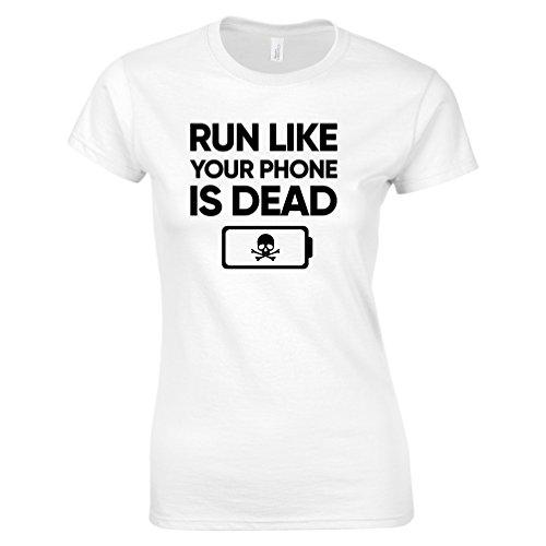 Tim and Ted Eseguire Come Il Telefono è Morto Stampato Slogan Citazione Design Premium T-Shirt da Donna