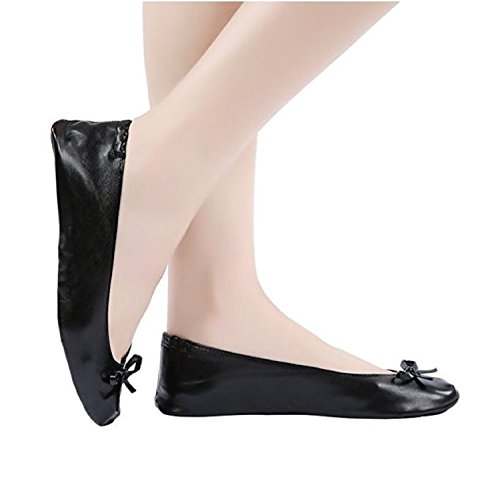 Fancy Shoe Land Fold up Ballet Pumps Folding Shoe Foldable Shoes Sizes 2.5-11 UK Plus Size up To 42 EU. Large Shoe That Roll up (8-9 UK/41-42 EU/X-Large, Black)