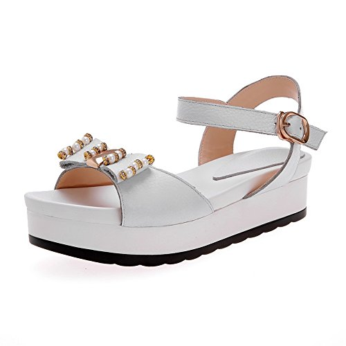 AllhqFashion Women's Round Open Toe Solid Cow Leather
