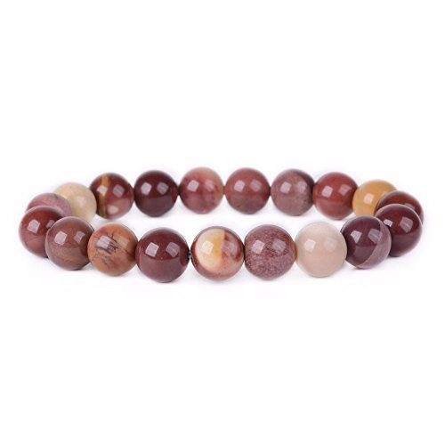 (Natural Mookaite Jasper Gemstone 10mm Round Beads Stretch Bracelet 6.5