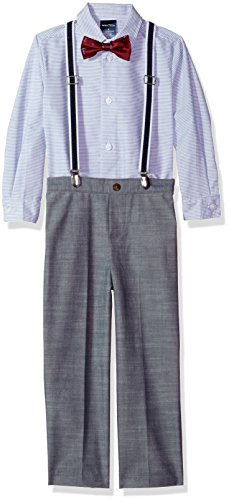 Nautica Toddler Boys' Set With Shirt, Pant, Suspenders, & Bow Tie, Blue, 4t