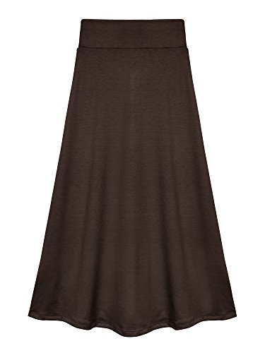Bello Giovane Girls 7-16 Years Solid Maxi Skirt (Small, Brown)