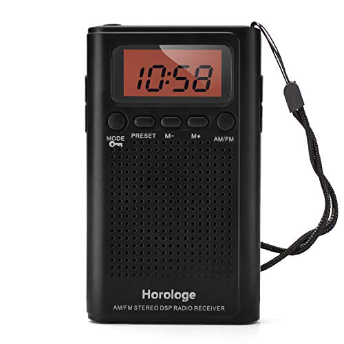 (Horologe AM FM Pocket Radio, Portable Alarm Clock Radio with Time, Alarm, Radio, Digital Display,Stereo Mode and Including Battery)