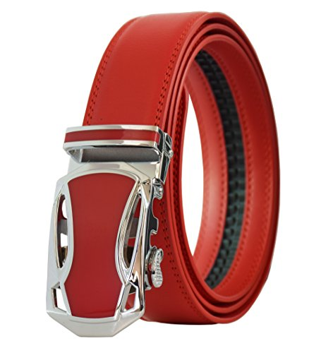 Men's Belt Leather Ratchet Belt with Automatic Buckle Red -