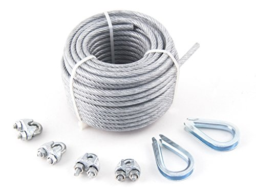 """1/8"""" x 3/16"""" x50' Pvc-Coated Galvanized Aircraft Cable Kit - KingChain 463771"""