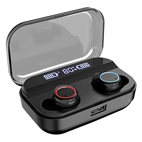 NPET True Wireless Earbuds [2019 Latest Version], Bluetooth 5.0 Deep Bass HD Stereo Sound Wireless Earbuds, IPX7 Waterproof, AAC, Touch Control, 4000mAh Charging Case with Power Display (Best Phone Power Bank 2019)