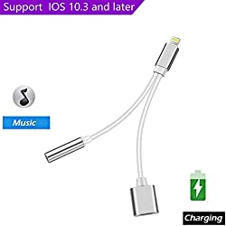 [Upgrade]Support iOS 10.3, 2 in 1 Lightning to 3.5mm Headphone Audio Adapter, Lightning to 3.5mm Audio Charge Earphone Jack Adapter Charging USB Cable for Apple iPhone 7 7 Plus 6S 6 iPod iPad(Silver)