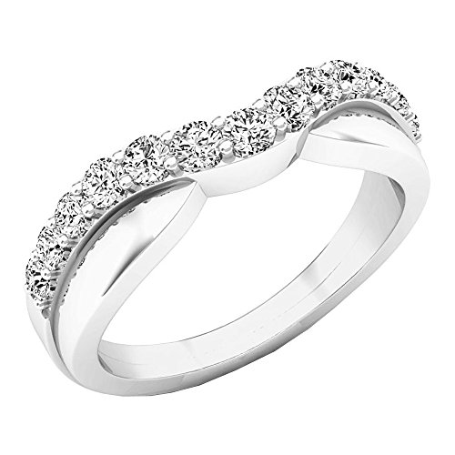 (dazzlingjewelrycollection 0.50 Carat (Ctw) 14K White Gold Plated Round Diamond Ladies Anniversary Wedding Guard Contour Band 1/2 CT)