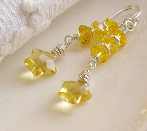 Yellow Star Gemstone Earrings Citrine Lemon Quartz Sterling Silver Wire Wrapped - Lemon Citrine Gemstone