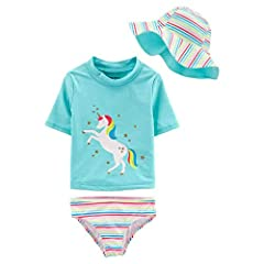 This is a 3 piece swim set by Carter's for little girls. Includes a swim bottom, short sleeve rash guard top, and reversible hat. Choose pink flamingo or blue unicorn.