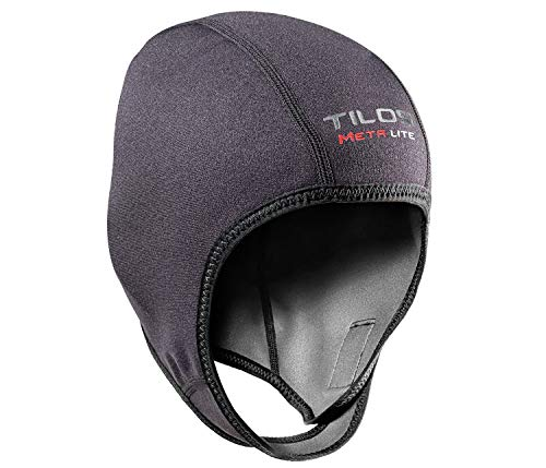 Tilos 1mm Metal-Light Coated Neoprene Adjustable Beanie for Surf Surfing Kayak Rafting Canoe Snorkel Swimming Cap Hat (Black, XL)