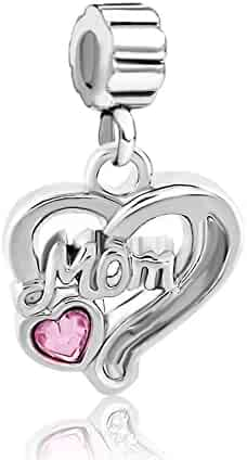efea8dda2 Charmed Craft 925 Sterling Silver Pink Heart Crystal Mom Mother Charms  Dangle Beads For Bracelets