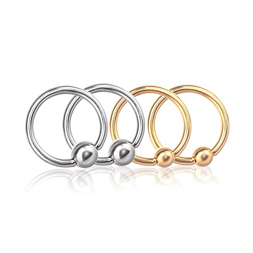Captive Bead Ring Nipplerings Piercing Women Men Hoop Surgical Steel CBR Rings for Women Men Body Jewelry (4pcs 16g-10mm) - Ladies Cbr