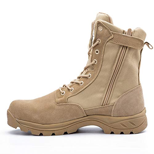 IODSON 928 Ultralight Combat Boots, Men's Tactical Military Boot Footwear, Desert Ankle Army Shoes with Side Zipper (10.5D(M) US, Beige) - Men Footwear Combat Boots