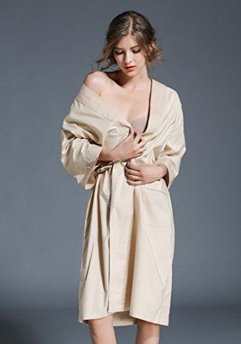 Coton Robe De Acmede Longue Manches 3 Femme Loose Kimono Kaki 4 Chambre Confort 6qfHRw