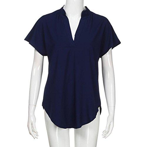 T Shirt Shirt Dcontracte T Mousseline Tops S Blouse Navy ~ Wolfleague Manches Solide Couleur Courtes Femmes XL Chemise Blouse t6xwqO8