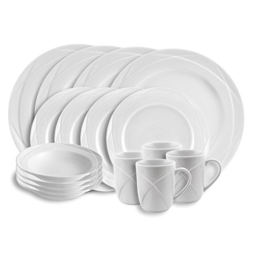 - Empire Collection EMP9600 Acadia Porcelain 16-piece Dinnerware Set, Chip Resistant, White (Pack of 16)