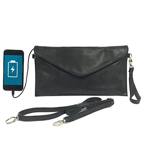 Womens Envelope Charging Clutch Bag/Wristlet; Compatible with All Phones - 2,600mAh Battery Will Give Your Phone A Full Recharge - Washed Black