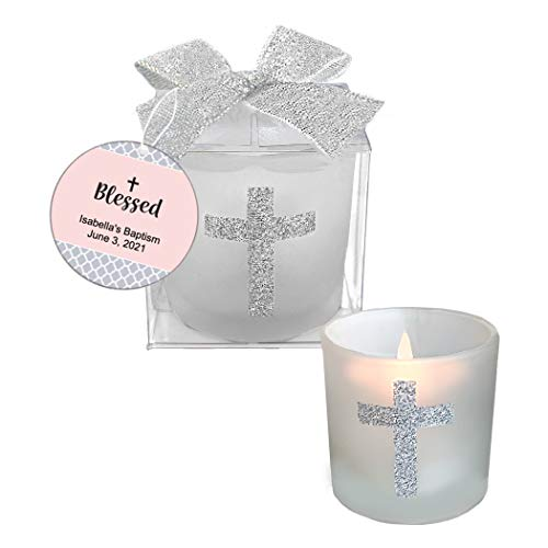 Fashioncraft, Baptism First Communion Christening Favors, Candle Party Favors with Sparkling Silver Cross, Personalized Custom Tags, Pink, Set of 24