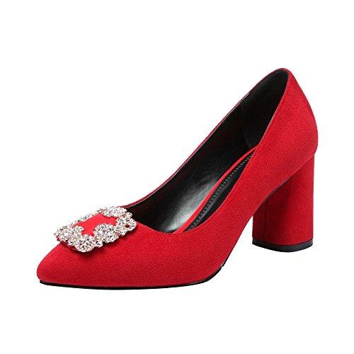 Travail Mariage Hauteur Rouge Talon Femme Escarpins Elegant 7 Ochenta 5cm Suedine Bloc HBpzqvIw