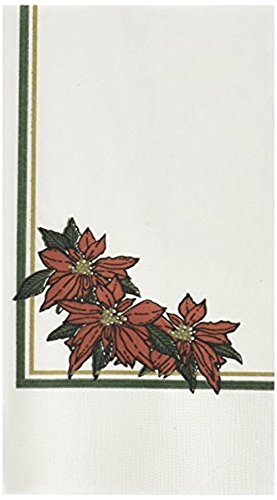Dinex DXH5455DN01 Paper Poinsettia Blossom Design 2 Ply Dinner Napkin with 1/8 Fold and Coin Edge Embossed, 17