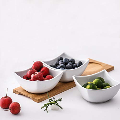 Clean White Ceramic Bowl, Bamboo Wood Tray,Fruits,Condiments,Appetizer Tray and Desserts Serving Tray ,(5.5In 3 bowls, 1 wooden pallets) ()