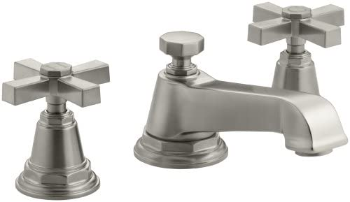 KOHLER K-13132-3A-BN Pinstripe Pure Widespread Lavatory Faucet, Vibrant Brushed Nickel