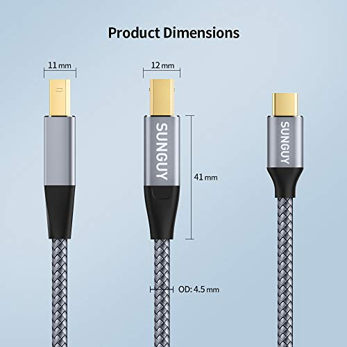 Amazon.com: SUNGUY - Cable USB C para impresora (conector ...