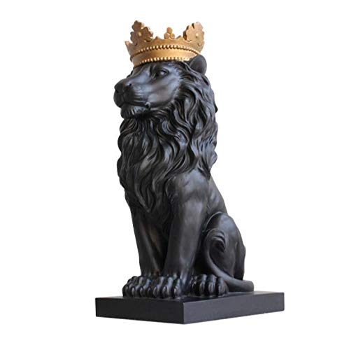 Glass figurines Statue - Black Crown Lion Statue Handicraft Christmas for Home Decoration Accessories - by GTIN - 1 Pcs - Lion Yard Statue - Rhe Lion King Statue - Garden Lion Statue