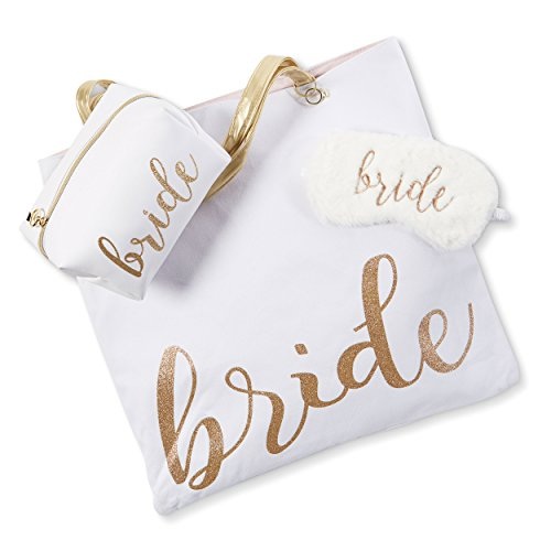Reversible Bride Canvas Tote Bag with Cosmetic Bag (Bride Tote w/Cosmetic Bag & Sleep Mask)