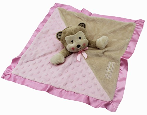 (Naovio Baby Kids Security Blanket Toy Soft Plush Teething Cloths Towel Cute Monkey Comforter Soother for Boys and Girls,Pink)