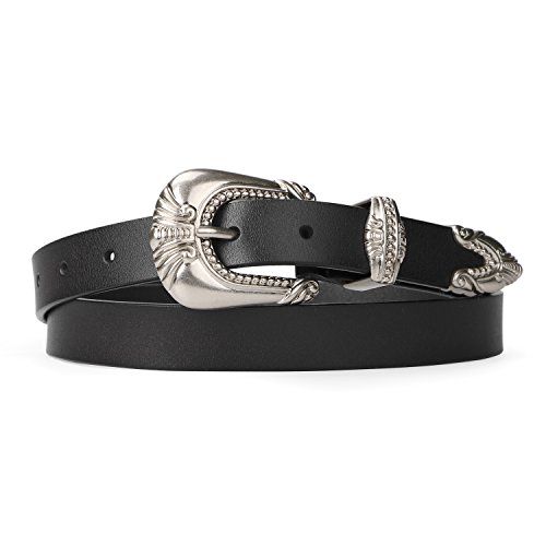 Women Genuine Leather Fashion Belt JASGOOD Ladies Vintage Casual Belt for Jeans Dress with Retro Metal Buckle